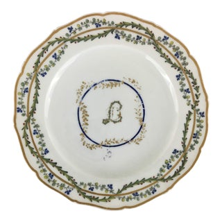 "18th Century Antique Orleans China French Porcelain Plate With Interlaced ""L"" and ""D"" For Sale"