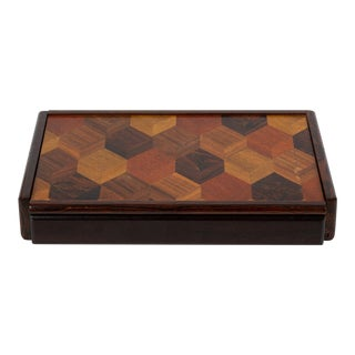 Don Shoemaker Jewelry or Trinket Box With Trompe L'oeil Inlay For Sale