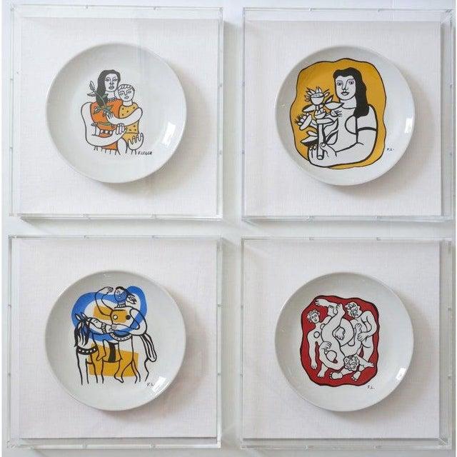 Vintage Framed Fernand Leger Porcelain Plates - a Set of 4 Different in Lucite Shadowbox Frames For Sale - Image 12 of 13