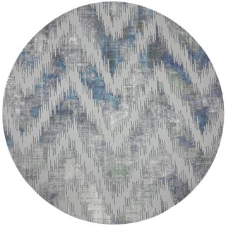"Nicolette Mayer Chevron Opulence 16"" Round Pebble Placemat, Set of 4 For Sale"