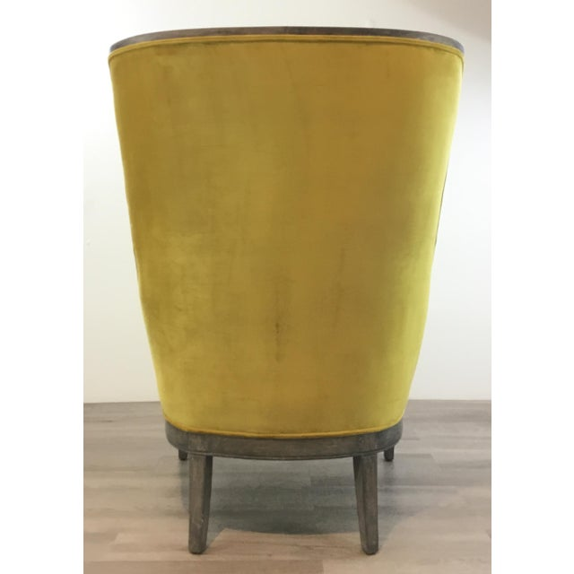 2010s Modern Chartreuse Velvet Wingback Chair For Sale - Image 5 of 6