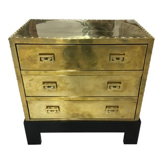 Mid Century Sarreid Brass Chest on Stand For Sale