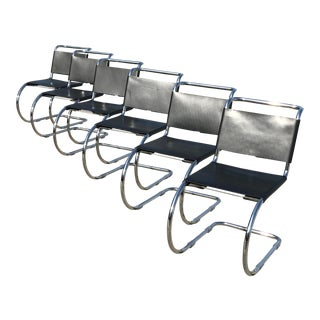 Cantilever Black Leather Chairs by Ludwig Mies Van Der Rohe for Alivar - Set of 6 For Sale