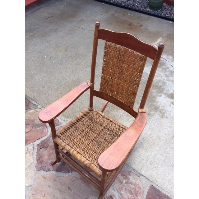 Teak Rattan Rocking Chair - Image 5 of 11