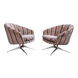 Mid Century 1970s Pin Striped Leopold for Ward Bennett Swivel Chairs - - a Pair For Sale