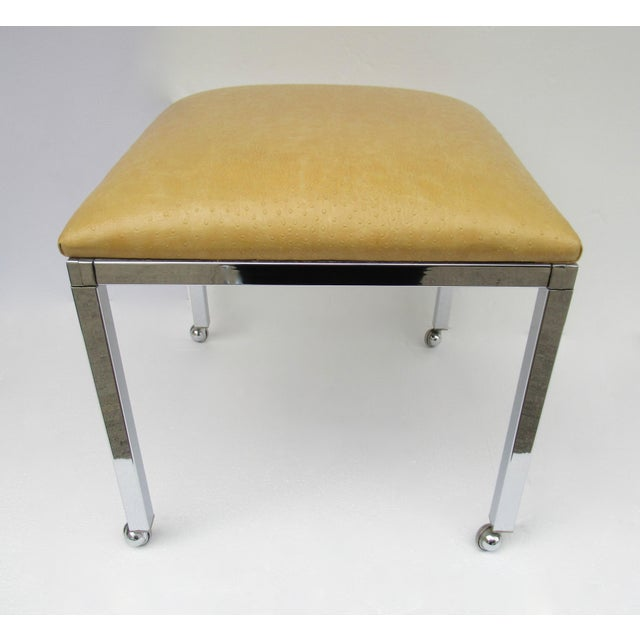 Animal Skin Mid-Century Milo Baughman Chrome Bench With Chrome Castors For Sale - Image 7 of 13