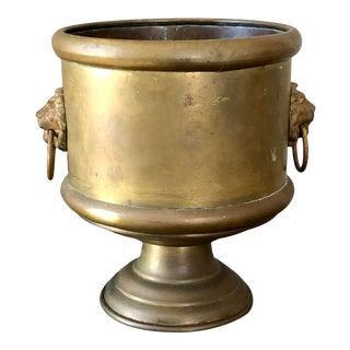 Antique Brass Lion Head Urn Planter For Sale