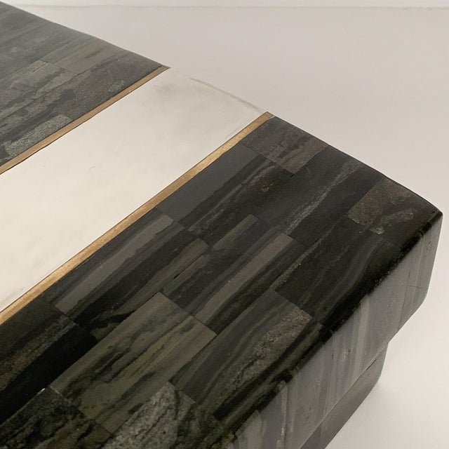 Karl Springer Tessellated Stone, Chrome and Brass Box For Sale - Image 11 of 13