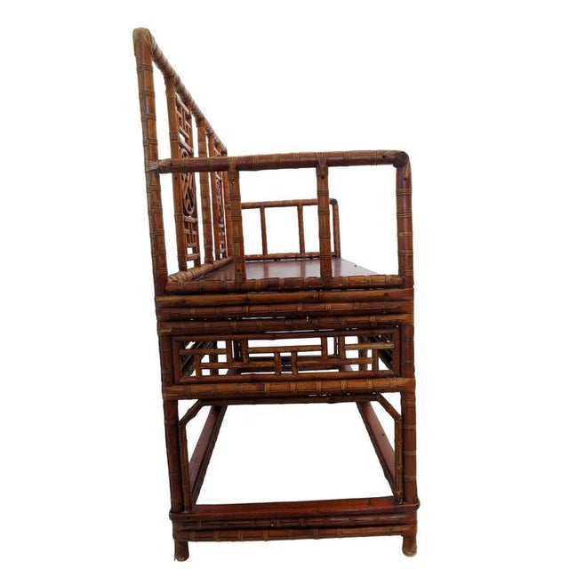 Antique Chinese Bamboo Chinoiserie Settee - Image 3 of 4