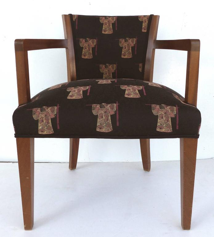 French Art Deco Chairs Upholstered In An Asian Motif, Pair   Image 2 Of 11