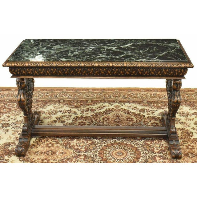 Gorgeous antique table, coffee, renaissance style figured carved marble-top, 20th century! Renaissance style table, 20th...