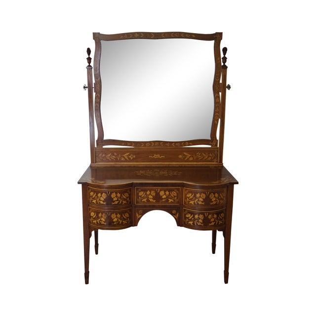 Antique Mahogany Marquetry Inlaid Vanity W/ Mirror - Antique Mahogany Marquetry Inlaid Vanity W/ Mirror Chairish