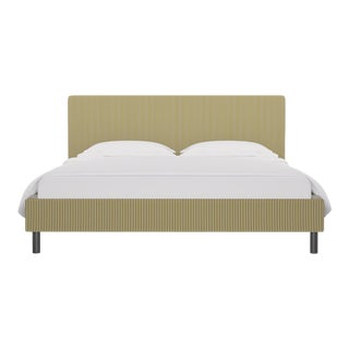 California King Tailored Platform Bed in Gold Ticking Stripe For Sale