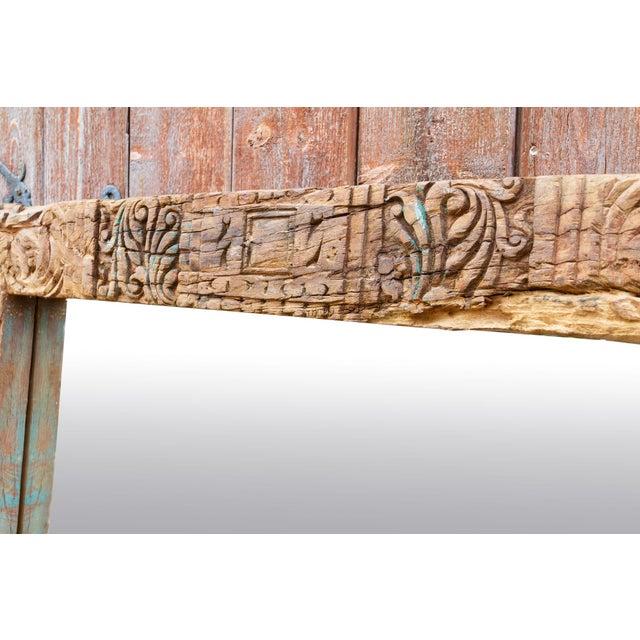 Wood Antique Primitive Fleur De Lis Carved Mirror For Sale - Image 7 of 11