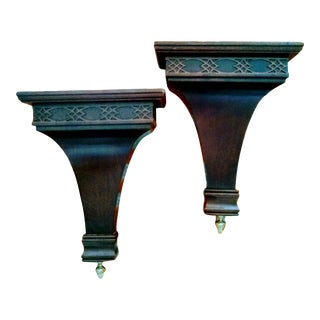 Solid Wood and Brass Fretwork Traditional Wall Sconce Shelves- a Pair For Sale