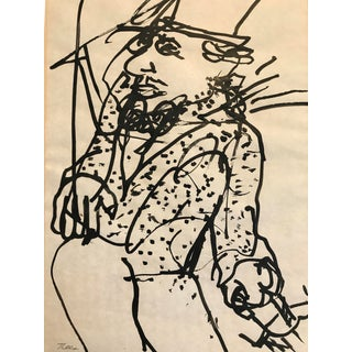 """1970s Painting John Lees """"Man With Top Hat"""" For Sale"""