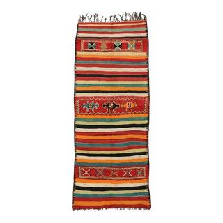 Vintage Berber Moroccan Kilim Rug - 04'07 X 11'03 For Sale