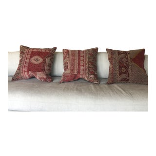 Vintage Rug Throw Pillows - Set of 3 For Sale