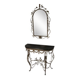 1920's Antique Italian Rococo Style Wrought Iron Console & Mirror - a Pair