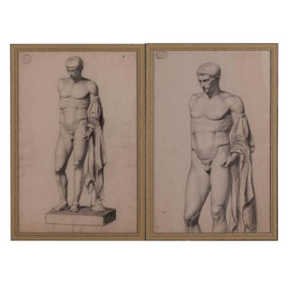 A Pair of Charcoal Drawings of a Sculpture of a Male Nude For Sale