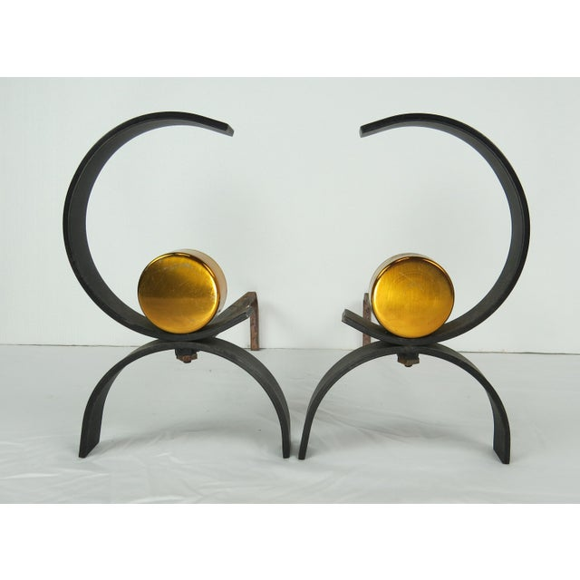 Gold 1950s Vintage Donald Deskey Mid-Century Modern Fireplace Set - 5 Pieces For Sale - Image 8 of 13