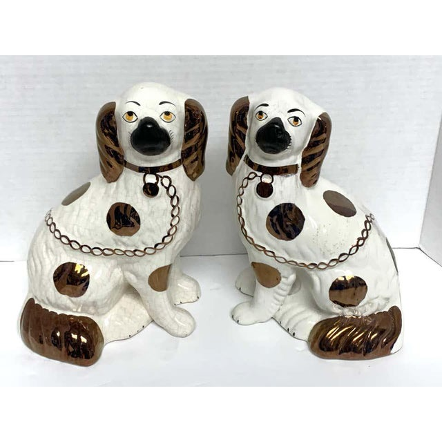 Wider Staffordshire Copper Luster Dogs With Separated Legs - a Pair For Sale - Image 9 of 12