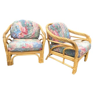 Vintage Boho Chic Rattan Patio Lounge Chairs With Floral Cushions- a Pair For Sale