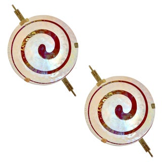 Art Deco Style Dark Red Ivory White Murano Glass Wall Lights - a Pair For Sale