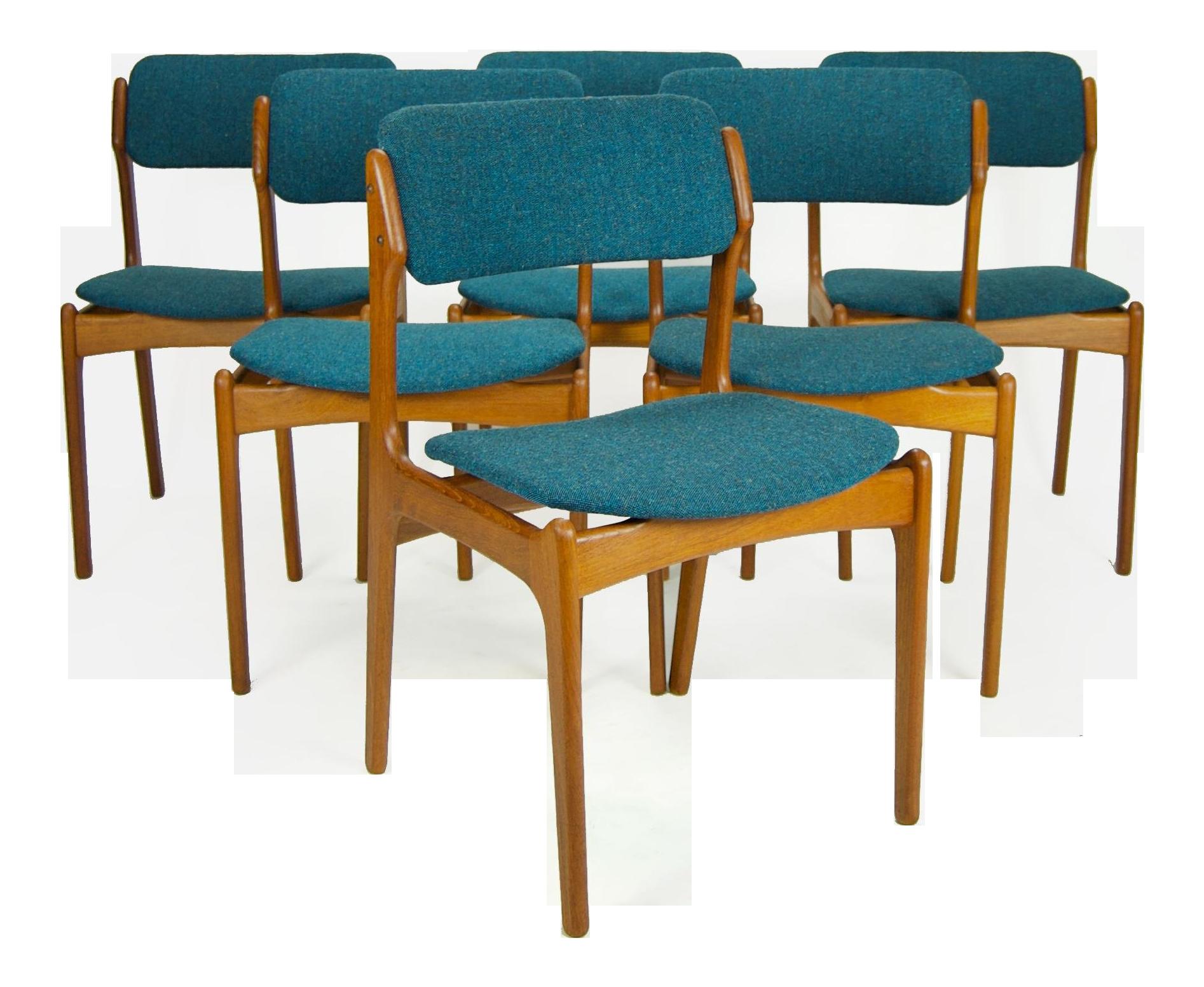 1960s Vintage Erik Buch for O D M¸bler Danish Dining Chairs Set