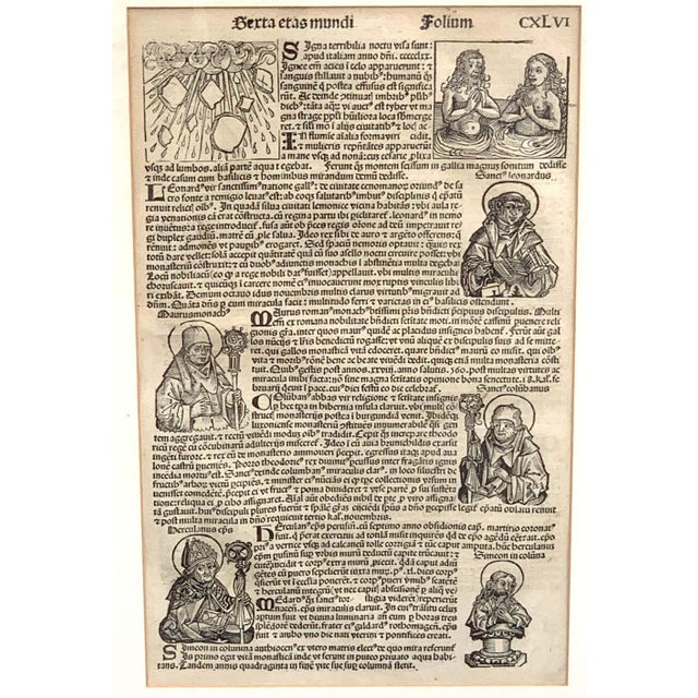 World Chronicle' 1st edition, by Schedel, Nurnberg, 1493 Original woodcut, one page with seven illustrations and Latin...