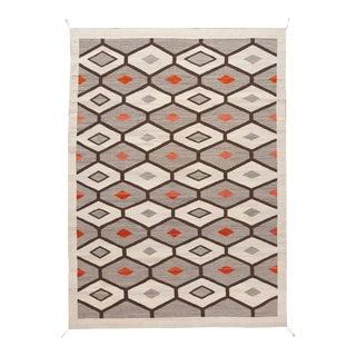 21st Century Modern Flat-Weave Navajo Style Wool Rug For Sale