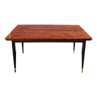 1940s French Art Deco Macassar Ebony Writing Desk / Dining Table For Sale