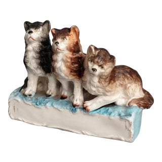 19th-C Staffordshire Kittens Figural Statue For Sale