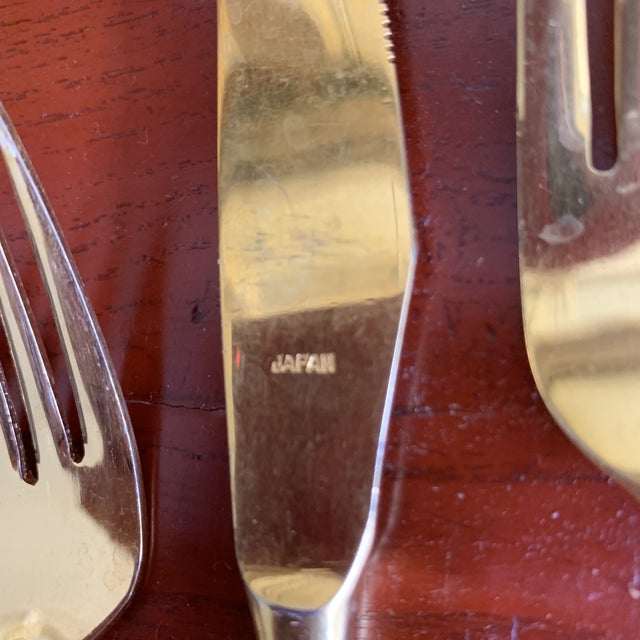 Contemporary Midcentury Japan, Gold Stainless Flatware Set of 100 For Sale - Image 3 of 13