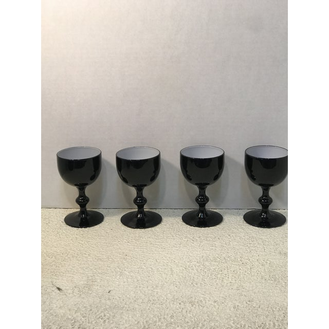 Set of 4 Carlo Moretti Black and White Cased Coupes.