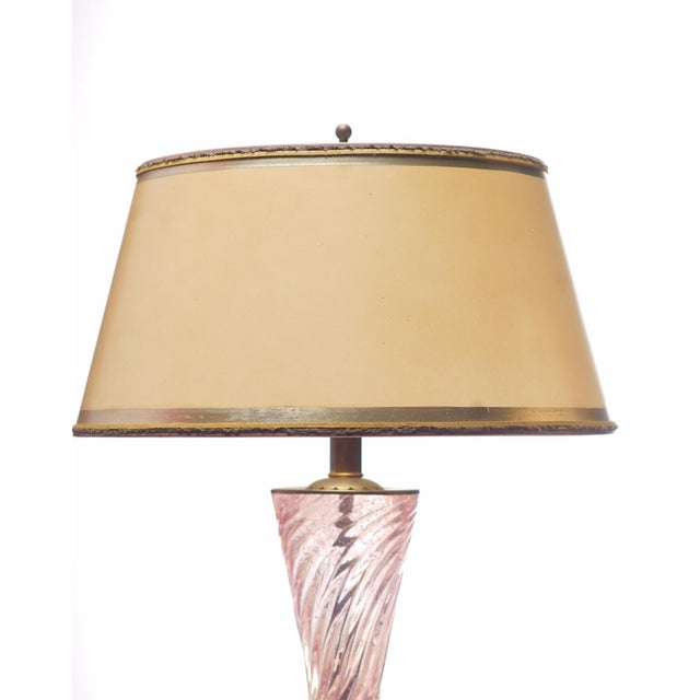 "Pair of Vintage pink Murano lamps on lucite bases, lampshades are hand made and gilded base 7"" Diameter"