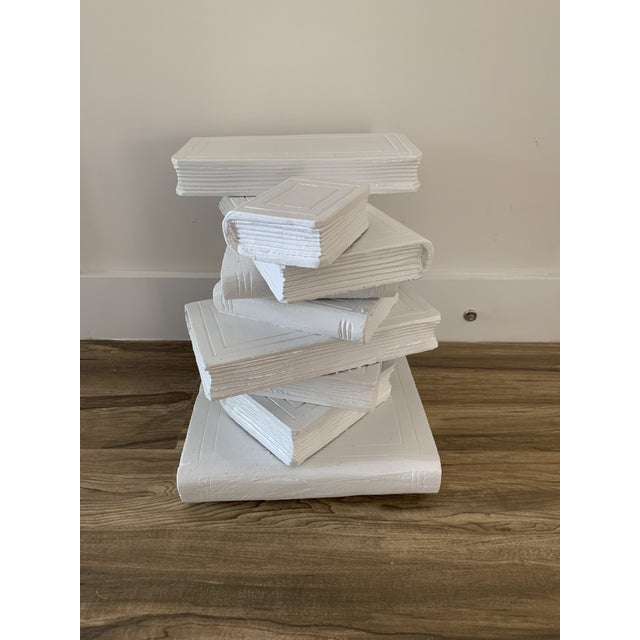 Tromp L'oeil stack of books drinks table or side table. Some natural cracking in wood adds to charm. Lacquered white. Cute...