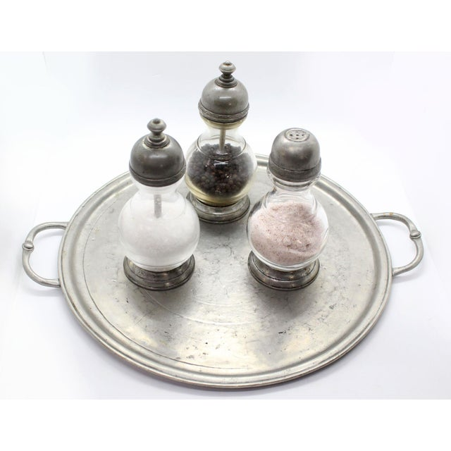Traditional Italian Pewter & Glass Salt Grinder For Sale - Image 3 of 6