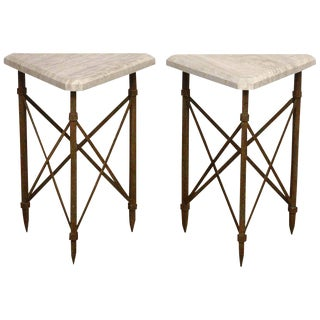 Neoclassical Bronze and Travertine Drinks Tables - a Pair