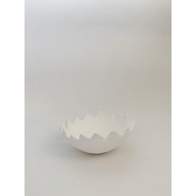 The Haze Zig Zag White Plaster Storage Tray Bowl For Sale - Image 4 of 4