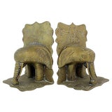 Image of Brass Elephant Bookends - a Pair For Sale