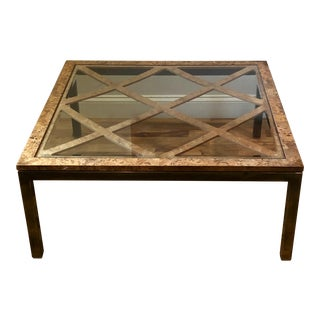 Mid Century Modern Burl Wood and Glass Coffee Table For Sale
