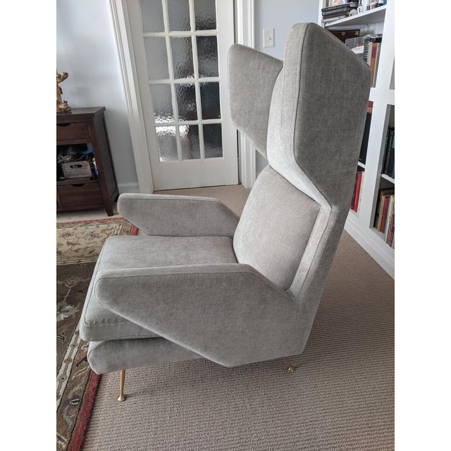 Italian Mid-Century Modern Italian Style West Elm Wing Chair For Sale - Image 3 of 10