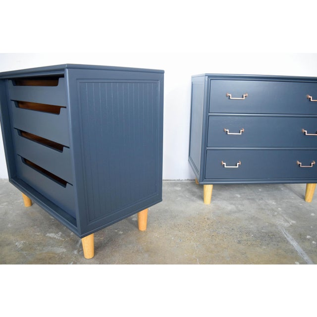 Late 19th Century Mid Century Modern Mismatch Black Large Nightstands - a Pair For Sale - Image 5 of 13