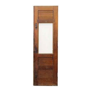 Antique Wooden Door With Vertical Glass Panel