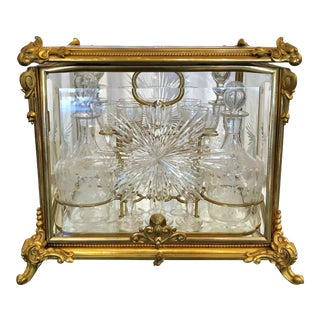 Antique French 19th Century Etched Crystal Liqueur Set, Circa 1880-1890. For Sale