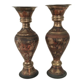 Pair of Decorative Metal Urns/Amphora's For Sale