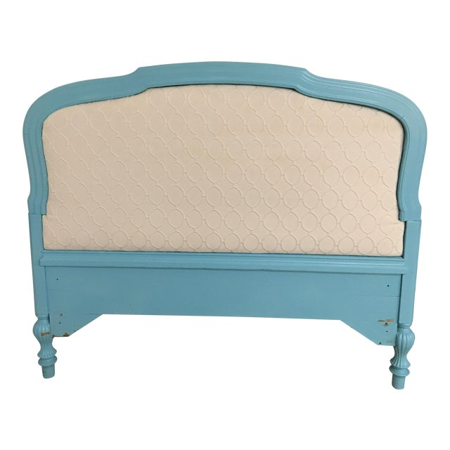 Upholstered Tourquoise Twin Headboard - Image 1 of 3