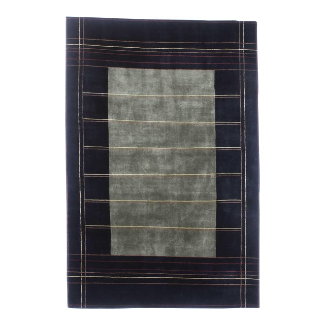 Hand-Knotted Indian Tibetan Wool Rug - 6′ × 8′10″ For Sale