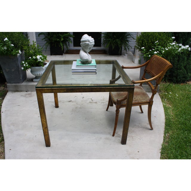 Vintage Modernist Gilt Metal Parsons Table with Thick Glass Top - Image 9 of 10